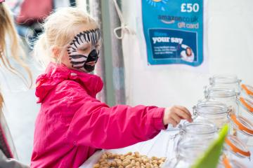 child wearing face paint at a fair