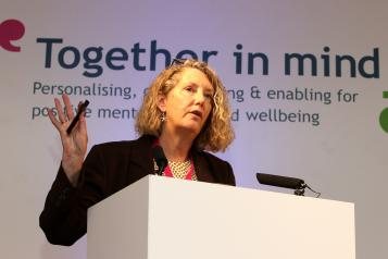 Amanda Stratford speaking at Healthwatch Cornwall conference