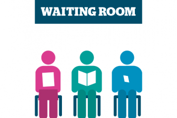 Graphic of people sat in a waiting room